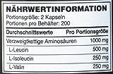 Optimum Nutrition BCAA 1000- Verzweigtkettige Aminosäuren (L-Leucin, L-Isoleucin und L-Valin, BCAA Ergänzungsmittel von ON) Unflavoured, 200 Portionen, 400 Kapseln