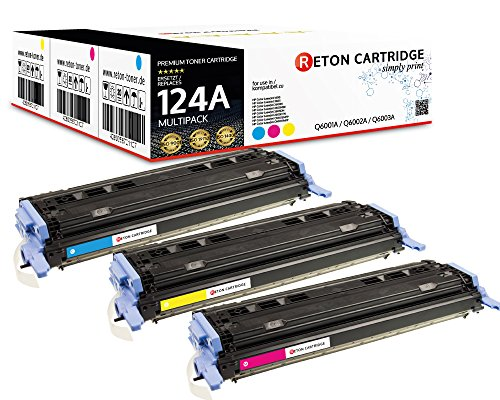 3 Original Reton Toner kompatibel ersetzen Q6001A Q6002A Q6003A 124A HP Color Laserjet 1600 2600DN 2605DTN CM1015 CM1015MFP CM1017 CM1017MFP produziert in Anlehnung an DIN33870-1 -
