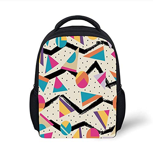 Kids School Backpack Indie,Eighties Memphis Fashion Style Geometric Abstract Colorful Design with Dots Funky,Multicolor Plain Bookbag Travel Daypack Funky Multi Color