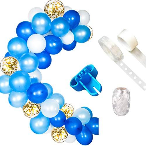 Ballon Girlande Kit Ballon Bogen Girlande, blau und weiß Ballon Bogen Girlande Kit (insgesamt 114 Stück) für blau und weiß Geburtstag Baby Shower Hochzeitsfeier Dekorationen - Eukalyptus-reiben