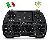 Rii H9S Wireless (Layout Italiano) - Mini Tastiera ergonomica con Mouse touchpad per Smart TV, Mini PC, TV Box, Console, Computer - Versione Italiana