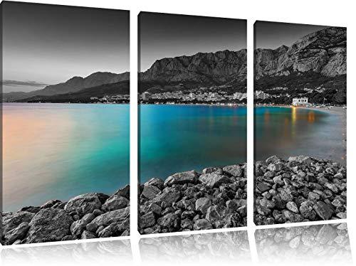 sensationeller Strand in Makarska Kroatien schwarz/weiß 3-Teiler Leinwandbild 120x80 Bild auf Leinwand, XXL riesige Bilder fertig gerahmt mit Keilrahmen, Kunstdruck auf Wandbild mit Rahmen, günstiger als Gemälde oder Ölbild, kein Poster oder Plakat -