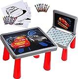 alles-meine.de GmbH Set: Tisch & Stuhl - incl. Malvorlagen + Stifte -  Disney Cars / Lightning McQueen - Auto  - Maltisch / Zeichentisch / Schreibtisch / Spieltisch - für Kinde..