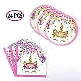 Savita 24 Pack Einhorn Pappteller und Servietten Einhorn Party Supplies Set für 12 Gäste, ideal für Geburtstagsfeier Kinder Dusche