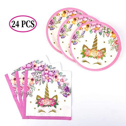 Savita 24 Pack Einhorn Pappteller und Servietten Einhorn Party Supplies Set für 12 Gäste, ideal für Geburtstagsfeier Kinder Dusche (Und Pappteller Servietten)