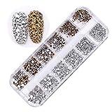 Amorar Nail Art Strass Stones Set Gemischte Nail Glitters Art Strass Nailart Maniküre Räder Mini Diamant Glänzende DIY Strass Kristall Diamant Telefon & Nail Art Dekoration 1440 Stck