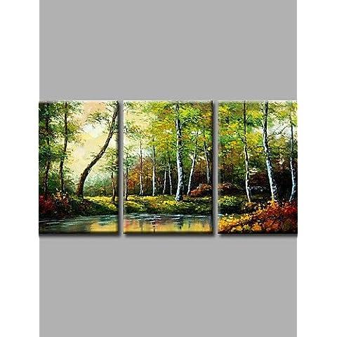 OFLADYH ® pronto ad appendere gli alberi della foresta si estendeva incorniciate dipinti a mano olio tela di arte della parete di oli pesanti con