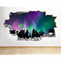 Z057 Northern Lights Space Sunset Sunrise Wall Decal Poster 3D Art Stickers Room Kids Bedroom Baby Nursery Cool Livingroom Hall Boys Girls (Large (90x52cm))