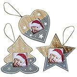 Fansport Albero Natale Ciondolo Appendere Decorazioni Foto Natale Ornamenti Abbellimenti Artigianato Etichetta Hanging Regalo 3pcs Legno