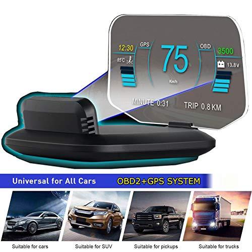 6' HUD OBD2 GPS Dual Système Compteur de Vitesse Kilométrage Diagnostic Auto Obd2 Affichage Tête Haute Flux de Données Alarme Survitesse Température Pression Turbine Compatible pour Tous les Véhicules