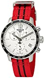 Tissot Men's 42mm Red Nylon Band Steel Case Swiss Quartz Silver-Tone Dial Analog Watch T0954171703704