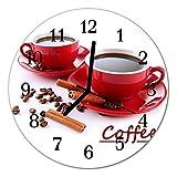 Glasuhr von DekoGlas 30cm runde Bilderuhr aus Acrylglas mit lautlosem Quarzuhrwerk Glaswanduhr Dekouhr Uhr Wanduhren aus PMMA Küchenuhr Glasbilder Wanddekoration Tasse Kaffee Rot