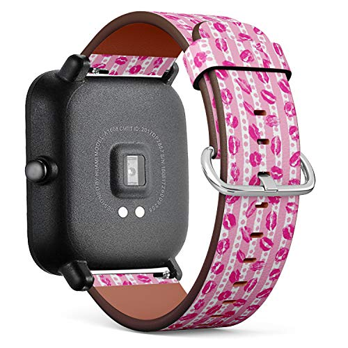 Kompatibel mit für Huami Amazfit Bip - Leder-Armband Uhrenarmband Ersatzarmbänder mit Schnellverschluss (XOXO Style Küsse Pinsel Grunge) - Frauen Watchs Xoxo