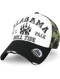 ililily Alabama Bär Paw klassischer Stil abgenutztes Aussehen Baseball Cap Snapback Trucker Cap Hut