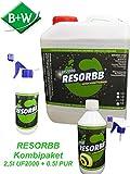 RESORBB® UF2000 Geruchsentferner 2,5l. mit leerer 0,5l. Sprühflasche + 0,5l. PUR Geruchs- & Fleckentferner