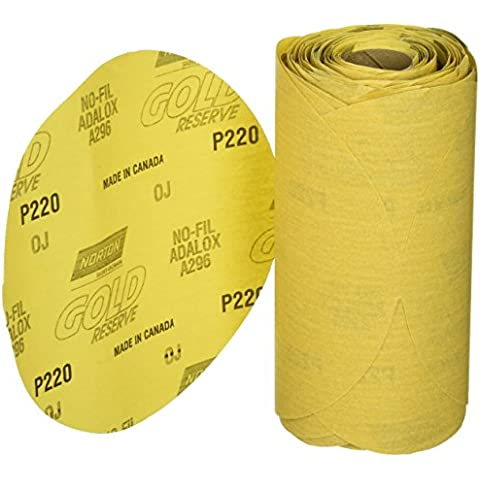 Norton 662611-83820 Gold Reserve 6 P220B PSA Disc Roll, (100 Discs/Roll) by Norton Abrasives - St. Gobain