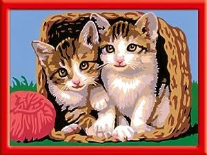 Ravensburger 28178 - Katze im Körbchen - Malen nach Zahlen, 24 x 18 cm