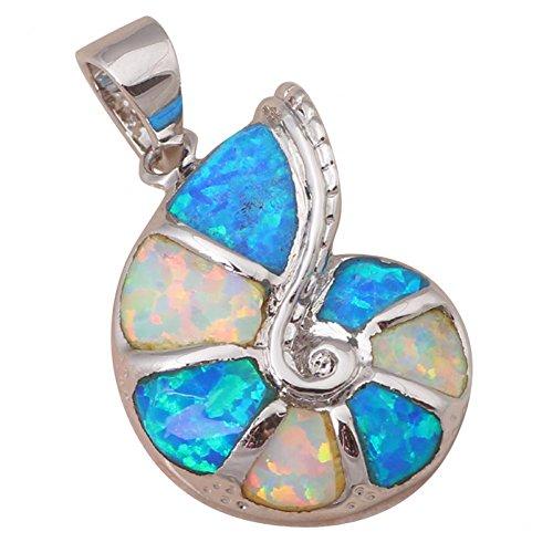 Bling fashion delicato stile aming Blu e bianco opale di fuoco in Argento 925timbro collana ciondolo Fashion Jewelry op328a