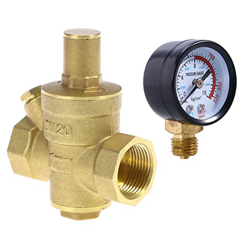 UKCOCO DN20 Regolatori di riduzione della pressione dell\'acqua in ottone regolabili per impieghi gravosi con manometro