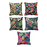 TYYC New Year Gifts for Home Retro Floral Pattern Printed Cushion Covers Set of 5 - 24x24 inches