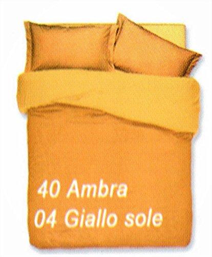Copripiumino sacco copripimino 2 federe double face tinta unita art. cobra matrimoniale 2 piazze 255x230 cm colore ambra/giallo sole