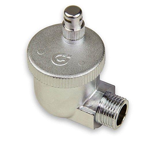 Caleffi AERCAL automatischer Schnellentlüfter 1/2 Zoll AG Entlüftungsventil Entlüfter Eck Heizkörperventil aus Pressmessing Verchromt mit hygroskopischer Sicherheitskappe für alle Heizkörperarten 504401