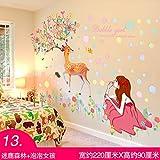 ALLDOLWEGE Einfache romantische Mädchen Schlafzimmer warme Wand Aufkleber 3D Aufkleber Raumdekorationen Nachtwand Tapete Tapete selbstklebend, Hirsch Wald + Blase Mädchen