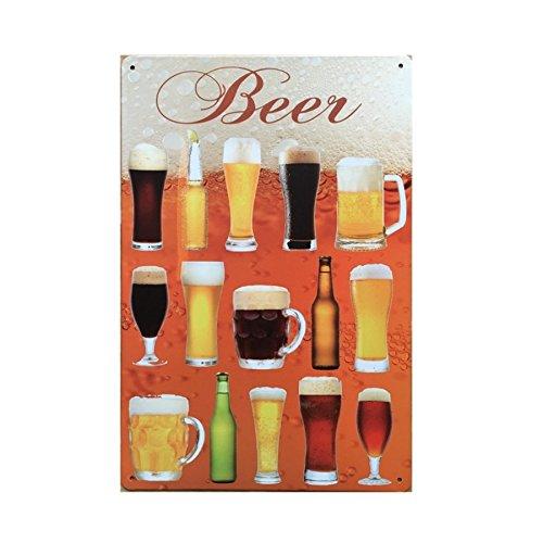 Zeichen Bier Wand (20x30cm Wein Bier Beer Trinken Vintage-Metall-Zeichen Zinn Plakat Kneipe Bar Cafe-Shop Blechschilder Türschild - 18)