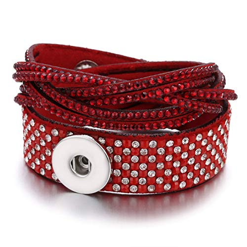 gklglg New Snaps Jewelry Vintage Crystal Leather 18Mm Snap Button Armband Bangle Punk Multilayer Leather Armband Wrap Armbands White Skulls Snap