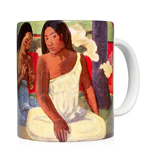 Tasse Mug petit-déjeuner en céramique blanche 32 cl. avec œuvre d'art imprimée Arearea, auteur Gauguin