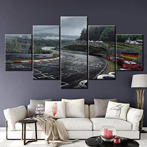 QPWOEI Leinwand Gedruckt Bilder Wandkunst Malerei 5 Panel Nürburgring Rallye Straße Dekoration Modul Poster Für Wohnzimmer NL009 @ With_Frame_30X40_30X60_30X80cm -