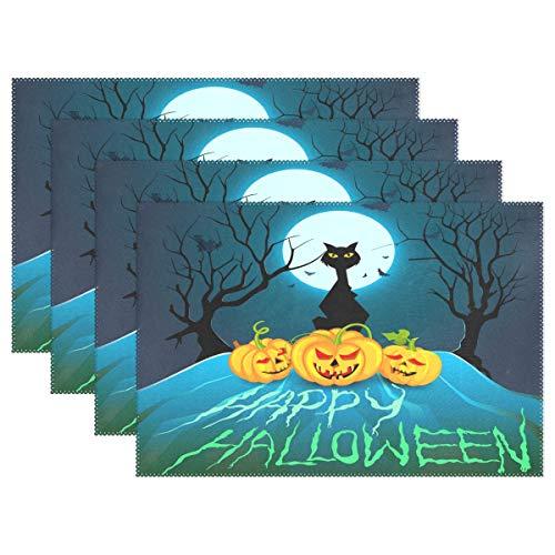 (WAMIKA Halloween Kürbis Katze Tischsets für Esstisch Set, von 1, BAT Mond Küche Tisch Matten waschbar hitzebeständig schmutzabweisend rutschfeste Tisch-Sets 30,5x 45,7cm leicht zu reinigen, Polyester-Mischgewebe, multi, 12x18 inch)