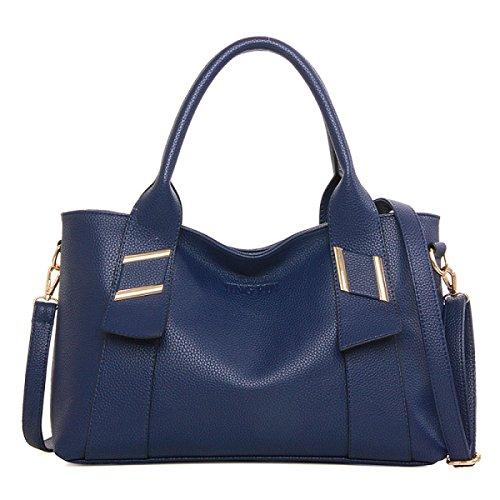 ZPFME Womens Tote Handtasche Mode Umhängetasche Multifunktion Shopper Leder Party Retro Bankett Blue