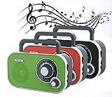 Tragbares Stereo Radio mit AUX IN und Kopfhöreranschluss Küchenradio (Rot)