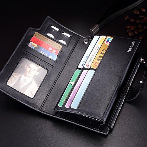 Teemzone Portmonee Port Portemonnaie Brieftasche Geldbörse Kartenfach Clutch Geldbeutel Geldtasche Leder Schwarz Glattes Leder