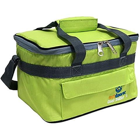 Bolsa térmica Cool Butler 6 de Outdoorer, color verde, con bolsillo externo