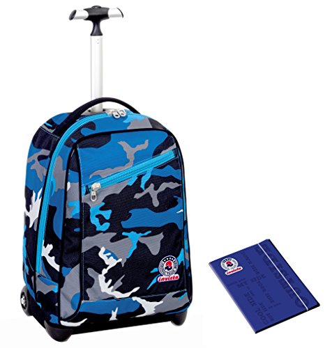TROLLEY INVICTA + Cartellina A4 - Camouflage Nero Blu - spallacci a scomparsa! Zaino 35 LT Scuola e viaggio