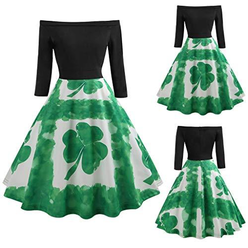 One-Shoulder-Schulter Klee Druck Retro-Kleid grün XL, Malloom Frauen St. Patrick's Day Langarm aus Schulter Clover Print Vintage Swing ()
