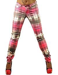 1 Sexy Womens Checked Jeans Ladies Skinny Slim Plaid Trousers Size UK 6, 8, 10, 12, 14, 16 - EU 34, 36, 38, 40, 42, 44