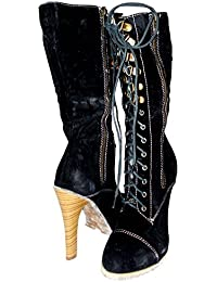 e3b5b98a7a9 Kotak Sales Stylish Women Ladies Knee Length Boots Calf Length Zip Block  High Heel Velvet Black Stretch Female…