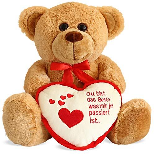 matches21 Teddybär Teddy mit Herz DU BIST DAS Beste Hellbraun / beige 35 cm Geschenk Klassiker Partner Freundin Valentinstag