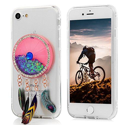 MAXFE.CO Coque Etui Protection iPhone 7 en PC + TPU Sable Découlée Housse Antichoc Case Cover Accessoire Coques pour iPhone 7 - Campanule Orange Campanule Violet