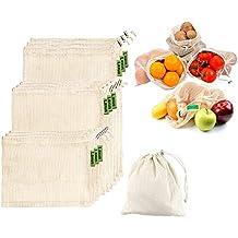 9477e7505 Laxus Bolsas de vegetales reutilizables de algodón, Ecológicas bolsas de  frutas y vegetales, malla