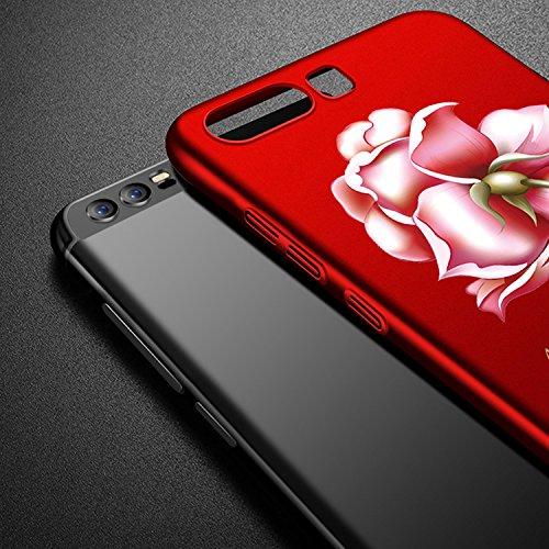 Coque Huawei P10 Ultra-Fine et Anti-Rayures Matte Bumper Hull Shell, Sunroyal Hard PC Matière avec [Protecteur d'écran] [Ultra Mince] [Ultra Léger] Anti-Rayures Anti-dérapante Très mince Non Slip Surf Rouge Rose