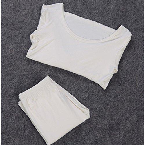 Liang Rou Set Intimo Sottile Modal Girocollo Elasticizzato Canottiera & un Pantalone da Donna Bianco