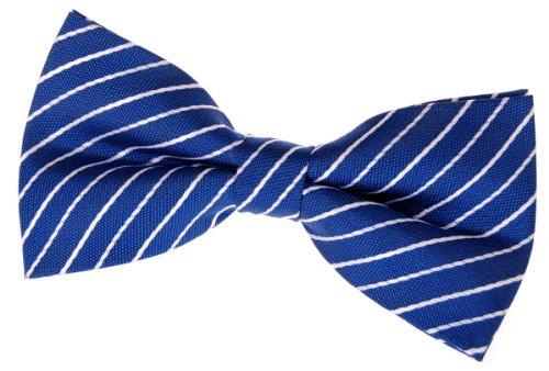 Retreez Classic Woven dünn Streifen vorgebundene Fliege (12,7cm)-verschiedenen Farben Gr. onesize, Blue with White Thin Stripe White Stripe Bow Tie