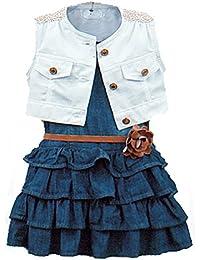 ARAUS Vestido de Niña de Manga Corto Ropa Combinación Niña Vestido Vaqueros + Chaleco + Cinturón 3PC para Niña de0.5-5 Años