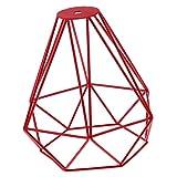 Sharplace Metal de Vendimia Decoración Colgante Techo Lámpara Luz de Bulbo Jaula Roja