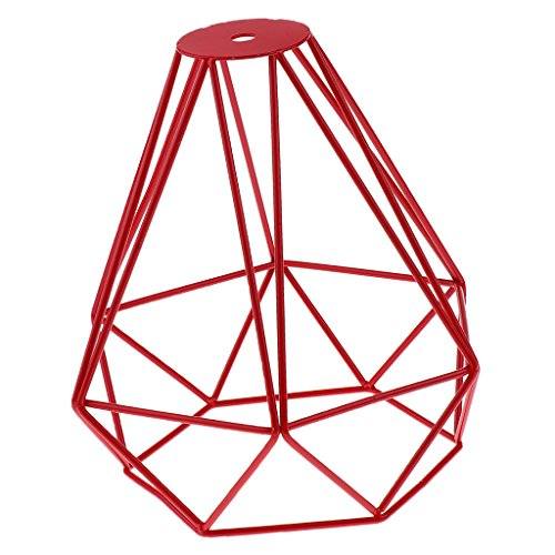 Sharplace Abat-Jour de Diamant en Fer Lustre Décoration Art - Rouge
