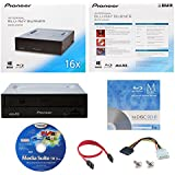 Pioneer BDR-2209 16X Internal Blu-ray BDXL DVD CD Burner Writer-Laufwerk in Kleinkasten mit FREE 1pk MDisc BD + Cyberlink Media Suite Software + Kabel und Befestigungsschrauben